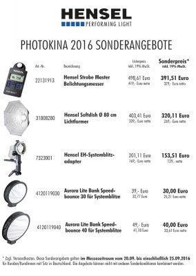 Hensel Sonderangebote zur photokina 2016