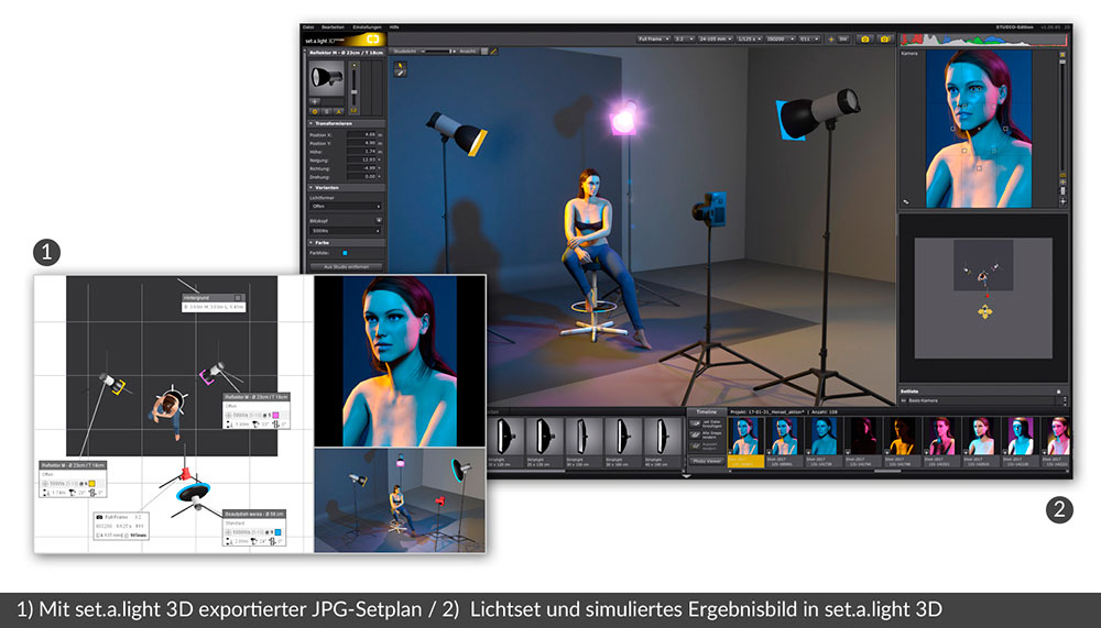 set.a.light 3D User Interface und Exportplan